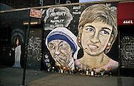 lady Di and mother Theresa. murals paintings, Manhattan New York  Usa   /  peintures murales, lady Di et mere Theresa. Manhattan  New York  USa