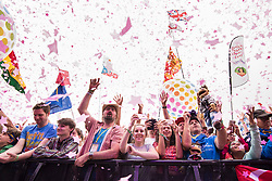 Crowds watch Katy Perry during the Glastonbury Festival at Worthy Farm in Pilton, Somerset. Picture date: Saturday June 24th, 2017. Photo credit should read: Matt Crossick/ EMPICS Entertainment.