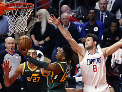 January 16, 2019 - Los Angeles, California, U.S - Utah Jazz's Donovan Mitchell (45) goes to basket while defended by Los Angeles ClippersÃ• Danilo Gallinari (8) during an NBA basketball game between Los Angeles Clippers and Utah Jazz Wednesday, Jan. 16, 2019, in Los Angeles. (Credit Image: © Ringo Chiu/ZUMA Wire)