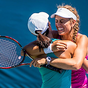 August 23, 2016, New Haven, Connecticut: <br /> Danielle Lao and Jacqueline Cako react after winning the US Open National Playoffs women's doubles finals on Day 5 of the 2016 Connecticut Open at the Yale University Tennis Center on Tuesday, August  23, 2016 in New Haven, Connecticut. <br /> (Photo by Billie Weiss/Connecticut Open)