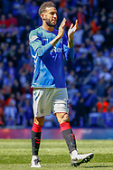 Connor Goldson of Rangers FC applauds the fans following their victory over Celtic during the Ladbrokes Scottish Premiership match between Rangers and Celtic at Ibrox, Glasgow, Scotland on 12 May 2019.