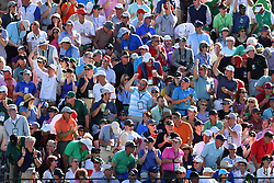 Patrons in the gallery watch action on the 15th hole during the third round of the Masters Tournament at Augusta National Golf Club in Augusta, Ga., on Saturday, April 8, 2017. (Photo by Brant Sanderlin/Atlanta Journal-Constitution/TNS) *** Please Use Credit from Credit Field ***
