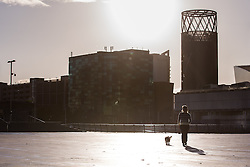 © Licensed to London News Pictures . 24/09/2014 . Media City , Salford , UK . A woman walks a dog . Autumn sunshine and big reflected light off the surface of glass buildings at Salford's Media City this morning as commuters travel to work  . Photo credit : Joel Goodman/LNP