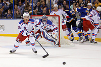 Ishockey<br /> NHL<br /> Foto: imago/Digitalsport<br /> NORWAY ONLY<br /> <br /> 9 October 2014: New York Rangers right wing Mats Zuccarello (36) chases a loose puck during the first period of a NHL Eishockey Herren USA hockey game against the St. Louis Blues at the Scottrade Center in St. Louis, Missouri. The Rangers defeated the Blues 3-2.