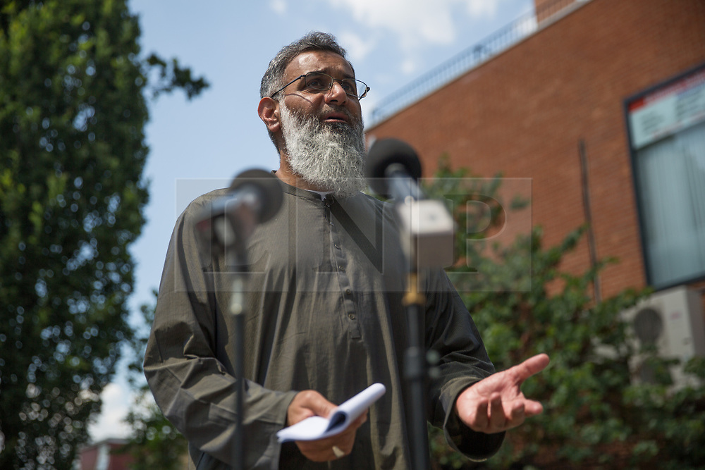 © Licensed to London News Pictures.  19/07/2021. London, UK. Radical Islamic preacher Anjem Choudary speaks to members of the press in Ilford, east London. His ban on speaking in public was lifted after his realise from the prison after five-and-half years after being convicted under the Terrorism Act 2020. Photo credit: Marcin Nowak/LNP