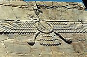 Winged symbol of Ahura Mazda, worshipped by the Zoroastrians. Persepolis: Royal Audience Hall of Darius, c500 BC.