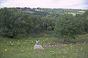 Teenage boy sitting alone on a rock outcrop in the middle of countryside looking over wooded valley, near Solsbury Hill, Batheaston, Somerset, England