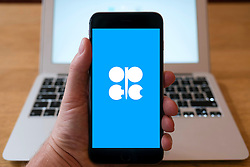 Home page of OPEC oil cartel on iPhone smart phone mobile phone
