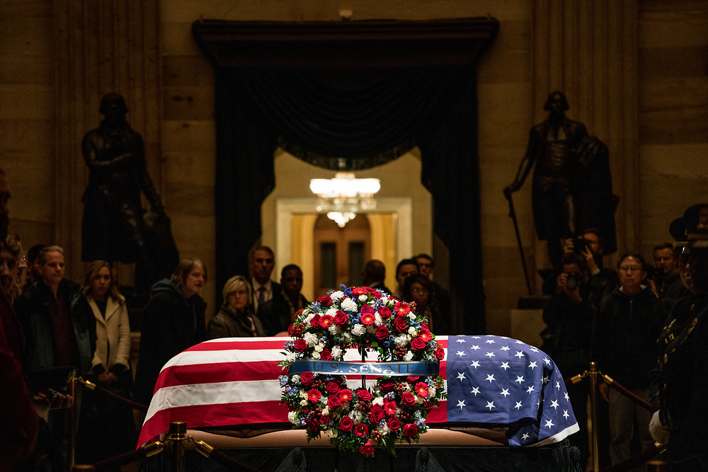 Former President George H.W. Bush lies in state at the U.S. Capitol on Dec. 3, 2018.