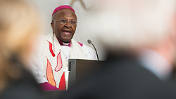 April 16, 2015 - Luebeck, Schleswig-Holstein, Germany - South African Nobel Prize recipient Desmond Tutu delivers a funeral speech at the funeral service for the former General Secretary of the World Council of Churches, Philip Potter, who died 30 March 2015, in the cathedral in Luebeck,Germany, 16 April 2015. Photo:DANIELREINHARDT/dpa (Credit Image: © Daniel Reinhardt/DPA/ZUMA Wire)