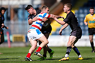 Bradford Bulls centre James Bentley (20) puts a tackle in on Rochdale Hornets second row Josh Crowley (12)  during the Kingstone Press Championship match between Rochdale Hornets and Bradford Bulls at Spotland, Rochdale, England on 18 June 2017. Photo by Simon Davies.