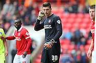 Goalkeeper Nick Pope of Charlton Athletic looks on. Skybet football league championship match, Charlton Athletic v Brighton & Hove Albion at The Valley  in London on Saturday 23rd April 2016.<br /> pic by John Patrick Fletcher, Andrew Orchard sports photography.