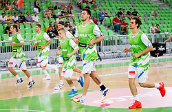 Matej Krusic, Domen Lorbek during basketball match between National teams of Slovenia and Bosna and Herzegovina in day 1 of Adecco cup, on August  3, 2012 in Arena Stozice, Ljubljana, Slovenia. (Photo by Vid Ponikvar / Sportida.com)
