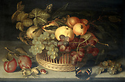 Basket of Fruits and Red Admiral Butterfly on a Stone Table'. Still Life (1610). Oil on panel.  Peach Apricot Apple Pear Plum Grape Cob Nut