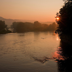 Sunrise over the Androscoggin River in Bethel, Maine.