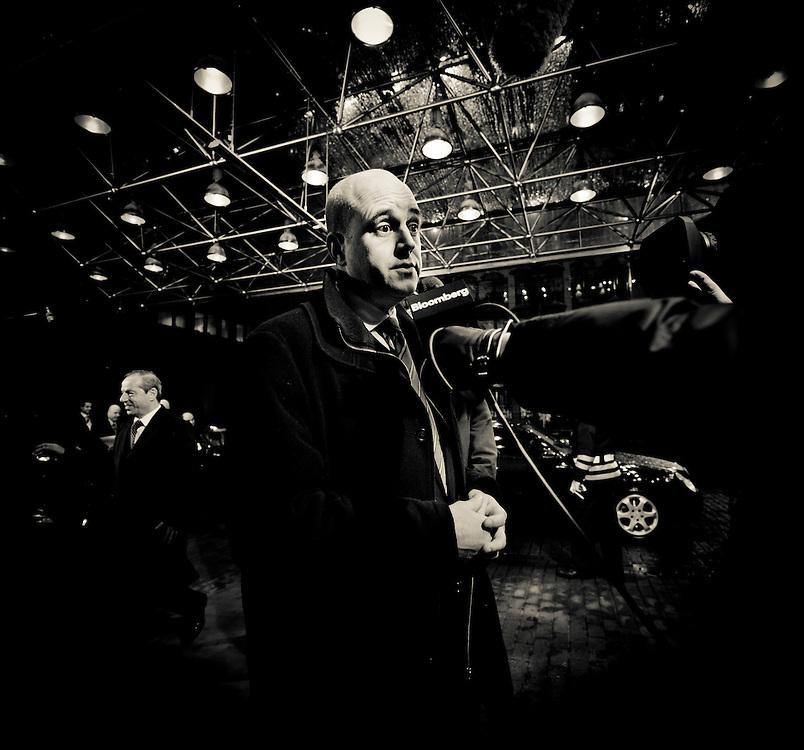 Brussels, Belgium 16 December 2010<br /> Swedish Prime Minister Fredrik Reinfeldt  talks to the press during the European Union leaders summit in Brussels.<br /> Photo: SCORPIX /  Ezequiel Scagnetti