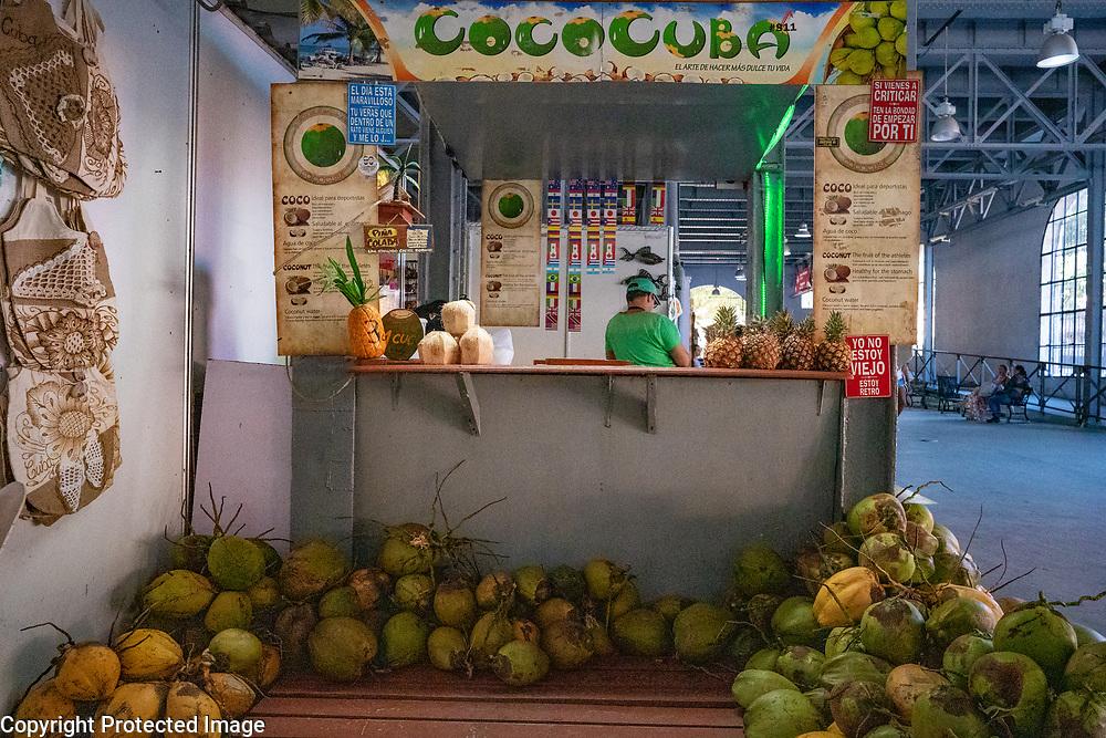 Coconut Stand, Havana Cuba 2020 from Santiago to Havana, and in between.  Santiago, Baracoa, Guantanamo, Holguin, Las Tunas, Camaguey, Santi Spiritus, Trinidad, Santa Clara, Cienfuegos, Matanzas, Havana