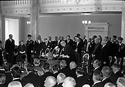 Inauguration of Eamon de Valera as President. De Valera signs the declaration of office in the presence of the Chief Justice, Cearbhaill O'Dalaigh, An Taoiseach Seán Lemass and members of the government.<br /> 25.06.1966