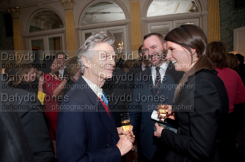 DERRY MOORE, The Dowager Duchess od Devonshire and Catherine Ostler editor of the Tatler host a party to celebrate Penguin's reissue of Nancy Mitford's ' Wigs on the Green.'  The French Salon. Claridge's. London. 10 March 2010.