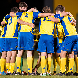 BRISBANE, AUSTRALIA - AUGUST 26: Brisbane Strikers players huddle before the NPL Queensland Senior Men's Semi Final match between Brisbane Strikers and Moreton Bay Jets at Perry Park on August 26, 2017 in Brisbane, Australia. (Photo by Patrick Kearney)