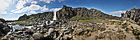 Scenic panoramic mountain view in The Pingvellir National Park, Iceland