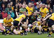 Northampton, Northamptonshire, 2nd October 2004 Northampton Saints vs London Wasps, Zurich Premiership Rugby, Franklyn Gardens, [Mandatory Credit: Peter Spurrier/Intersport Images],<br /> Mark Robinson, looks the clear the ball.