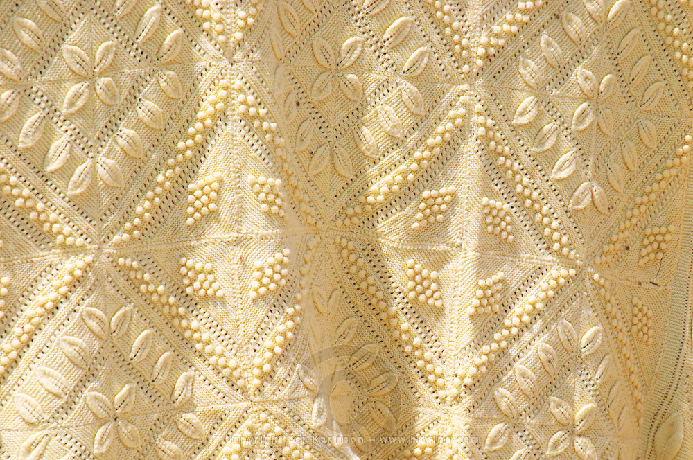 Detail of traditional embroiders cloth. Berat upper citadel old walled city. Albania, Balkan, Europe.