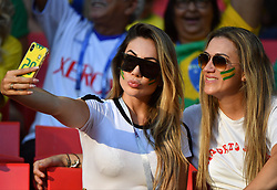 Larissa Pereira, 25, the wife of 26-year-old Brazilian player Roberto Firmino at FIFA World Cup Brazil v Serbia match at Spartak Stadium, Moscow, Russia on June 27, 2018. Photo by Christian Liewig/ABACAPRESS.COM