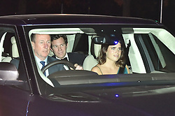 Princess Eugenie and Jack Brooksbank (centre) arrive at Buckingham Palace in London for the Prince of Wales' 70th birthday party.