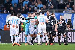 March 18, 2018 - Marseille, France - 12 JORDAN FERRI (OL) - 06 MARCELO (OL) - 08 MORGAN SANSON (OM) - COLERE - ALTERCATION (Credit Image: © Panoramic via ZUMA Press)