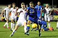 AFC Wimbledon defender George Francomb (7) battles for possession during the EFL Sky Bet League 1 match between AFC Wimbledon and Walsall at the Cherry Red Records Stadium, Kingston, England on 25 November 2017. Photo by Matthew Redman.