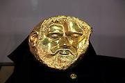 Gold mask of a Thracian king on display in Kazanlak museum, Bulgaria