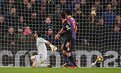 Crystal Palace goalkeeper Julian Speroni fails to stop Arsenal's Shkodran Mustafi (not pictured) scoring his side's first goal of the game during the Premier League match at Selhurst Park, London.