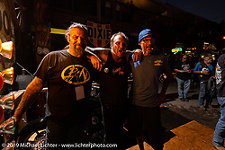 Chris Callen, Bert Baker and Bill Grotto at the Baker Burnouts in the Iron Horse Saloon during the Sturgis Black Hills Motorcycle Rally. Sturgis, SD, USA. Monday, August 5, 2019. Photography ©2019 Michael Lichter.