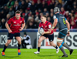 Rory Scannell of Munster <br /> <br /> Photographer Simon King/Replay Images<br /> <br /> European Rugby Champions Cup Round 1 - Ospreys v Munster - Saturday 16th November 2019 - Liberty Stadium - Swansea<br /> <br /> World Copyright © Replay Images . All rights reserved. info@replayimages.co.uk - http://replayimages.co.uk