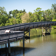 A pedestrian bridge to Columbia Island at the Lyndon Baines Johnson Memorial Grove. The memorial is set in Lady Bird Johnson Park on the banks of the Potomac on the George Washington Memorial Parkway in Arlington, Virginia.