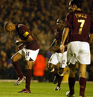 Photo: Chris Ratcliffe.<br />Arsenal v Sparta Prague. UEFA Champions League.<br />02/11/2005.<br />Thierry Henry (L) takes the mickey out of Robert Pires penalty against Man City