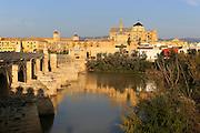 Roman bridge river Rio Guadalquivir, Mezquita cathedral buildings, Great Mosque, Cordoba, Spain