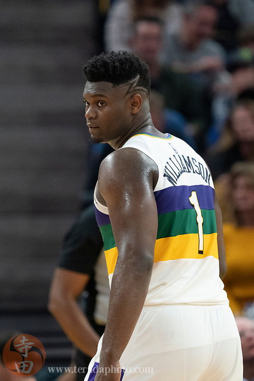 February 23, 2020; San Francisco, California, USA; New Orleans Pelicans forward Zion Williamson (1) during the fourth quarter against the Golden State Warriors at Chase Center.