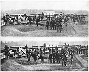 Big Gun Drill in Fort Totten from the book ' The Civil war through the camera ' hundreds of vivid photographs actually taken in Civil war times, sixteen reproductions in color of famous war paintings. The new text history by Henry W. Elson. A. complete illustrated history of the Civil war