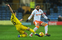 Blackpool's Liam Feeney is tackled by Oxford United's Cameron Brannagan<br /> <br /> Photographer Kevin Barnes/CameraSport<br /> <br /> The EFL Sky Bet League One - Oxford United v Blackpool - Saturday 15th December 2018 - Kassam Stadium - Oxford<br /> <br /> World Copyright © 2018 CameraSport. All rights reserved. 43 Linden Ave. Countesthorpe. Leicester. England. LE8 5PG - Tel: +44 (0) 116 277 4147 - admin@camerasport.com - www.camerasport.com