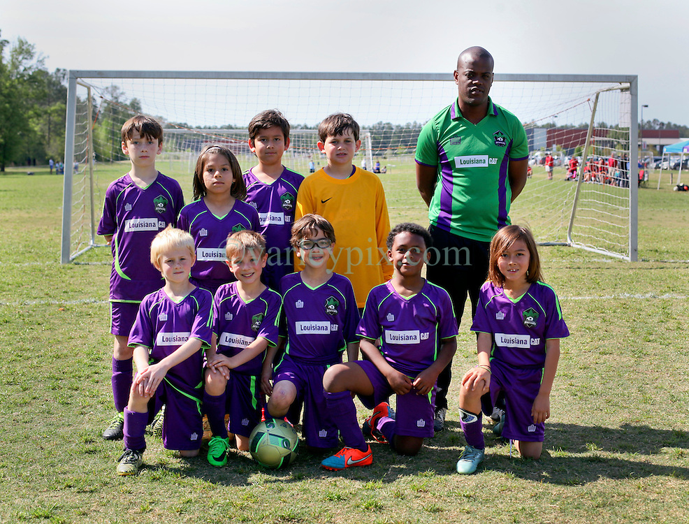 09 April 2016. Hammond, Louisiana.<br /> South Tangi Youth Soccer Association (STYSA), Chappapeela Sports Complex, 30th Annual Strawberry Cup,  <br /> New Orleans Jesters Youth Academy U9 team Green. <br /> Photo©; Charlie Varley/varleypix.com