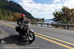 Michael Gontesky riding his 1925 Harley-Davidson JD on the Motorcycle Cannonball coast to coast vintage run. Stage 15  (51 miles - the Grand Finish) from The Dalles to Stevenson, OR. Sunday September 23, 2018. Photography ©2018 Michael Lichter.