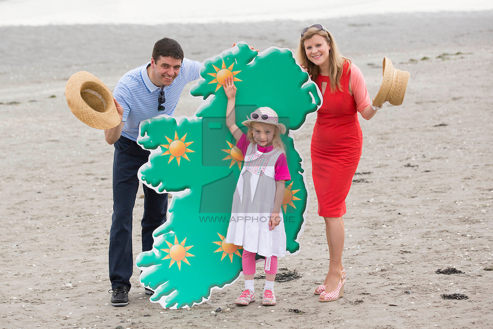Repro Free: Dublin 28/04/2014 <br /> Met Éireann's Gerry Murphy and Nuala Carey with the help of Alex McDonnell (age 5) from Rathgar were on hand to map out how to be SunSmart this Summer season by following SunSmart Code.<br /> Skin cancer cases in Ireland have now reached over 10,000 annually for the first time, according to the Irish Cancer Society who today launched their annual SunSmart campaign. The Society is urging the public to be SunSmart over the coming months and reduce their risk of skin cancer.<br /> The public can simply follow the four steps of the SunSmart Code for the best protection and check the Society's UV Index daily (available on www.cancer.ie/uvindex ) to find out how high UV levels are in their area. If the UV Index is three or higher it is important to protect the skin when outdoors by following the SunSmart Code.  Picture Andres Poveda
