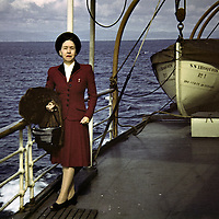 Vintage slide scan of a woman aboard a cruiseship, circa 1947.