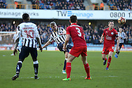 Steve Morison of Millwall  (c) takes a shot at goal. The Emirates FA Cup 5th round match, Millwall v Leicester City at The Den in London on Saturday 18th February 2017.<br /> pic by John Patrick Fletcher, Andrew Orchard sports photography.