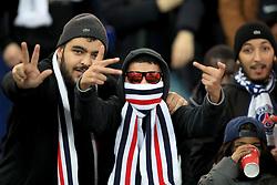 Paris Saint-Germain ultras in the stands before the UEFA Champions League, Group C match at the Parc des Princes, Paris.