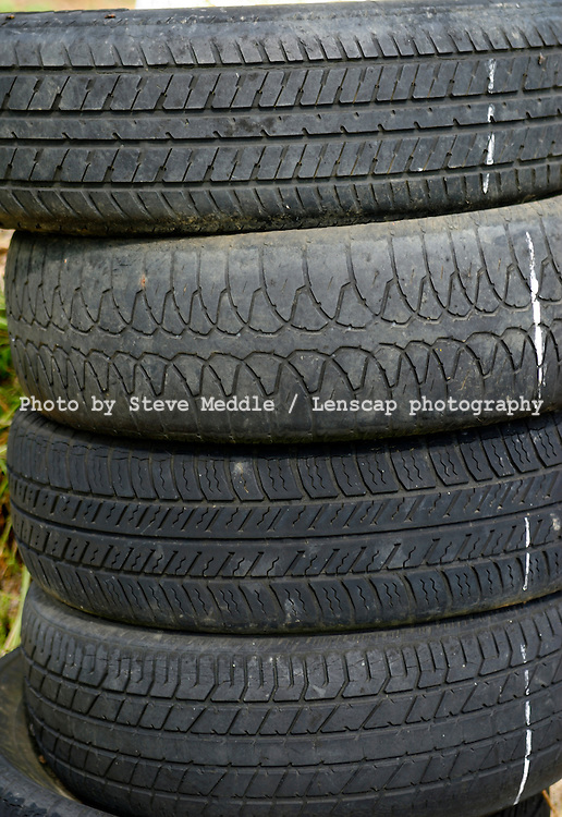 Stack of Old and Worn Tyres - August 2009