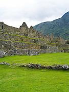 View of the Main Plaza at the Incan ruins of Machu Picchu, near Aguas Calientes, Peru.