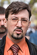 Moscow, Russia, 09/05/2006. Alexander Belov, leader of the Movement Against Illegal Immigration,  addressing supporters  at a war memorial, as Russians celebrated the 61st anniversary of the end of the Second World War, generally referred to in Russia as the Great Patriotic War.